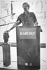 Classic shot of Bob Hayden - Squire Hall Closing, campus unrest, University Archives, Fall 1981, call number: 90E:1(8)