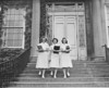 Meyer Memorial Hospital, nurses on steps, University Archives, 1940-1943, call number: 85GG:2