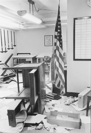 ROTC office after breakin - Clark Hall, University Archives, 10_1969, call number:  90A:7(3)